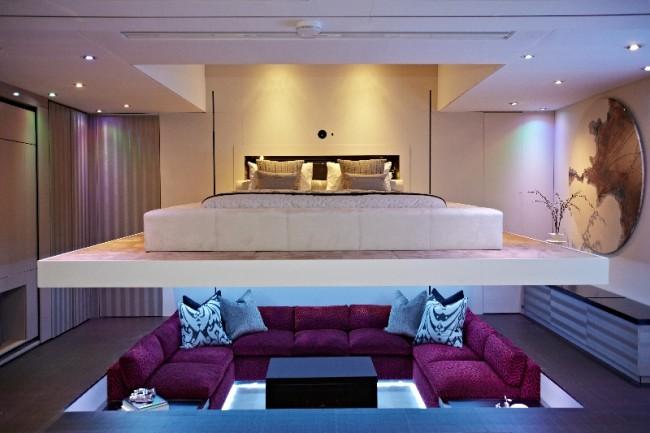 sunken living room 650x433 Akıllı Ev Dekorasyonu 2013